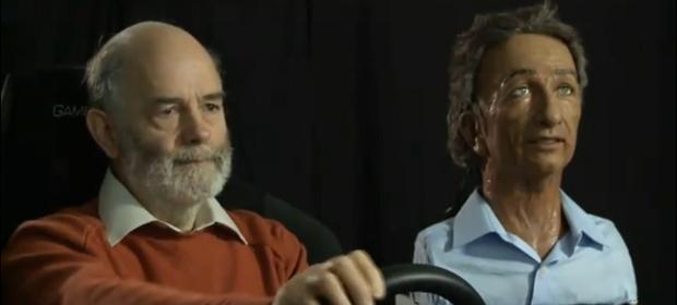 Peter Robinson mit dem Roboter-Beifahrer