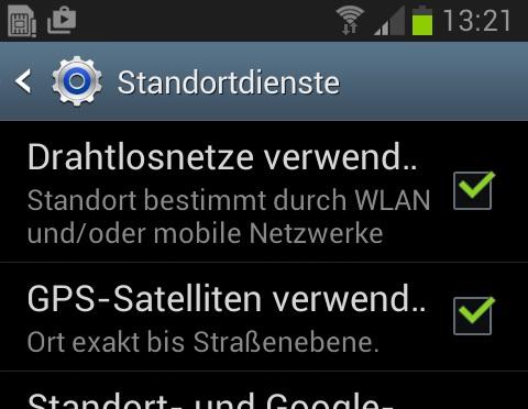 Standortdienste (bis Android 4.4)