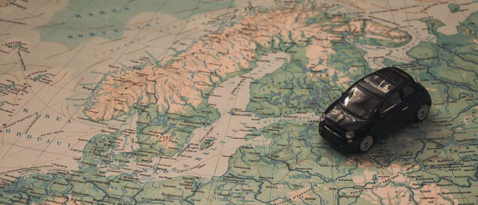 Karte mit Auto